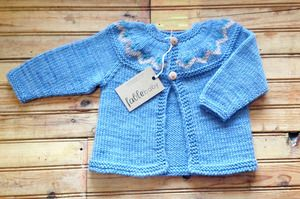 Image of Hand Knitted Pure Wool Baby Cardigan - Blue