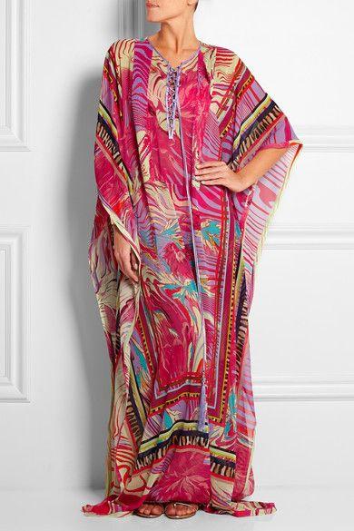 ROBERTO CAVALLI Printed silk-georgette kaftan $3,449.33