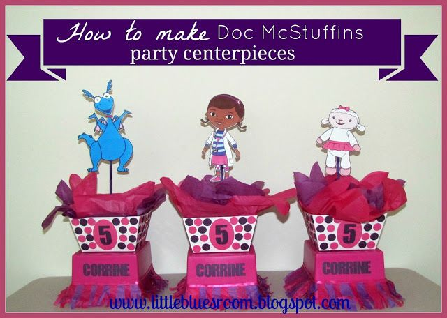 My daughter would LOVE these! The Doc Is In! Doc McStuffin party center pieces.