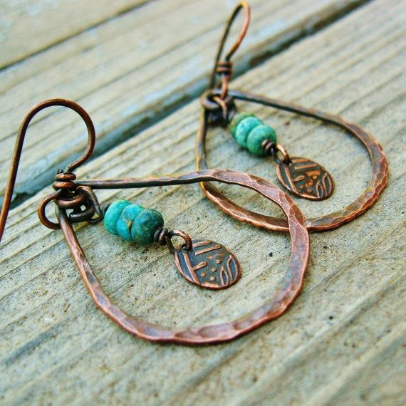 Hammered copper hoops and turquoise stacks by for Hammered copper jewelry tutorial