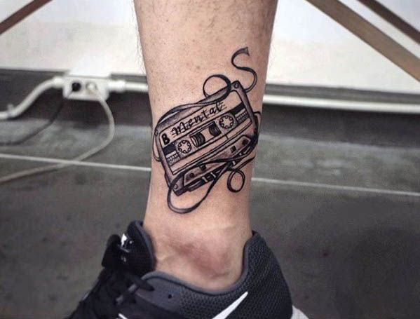 Guy With Lower Leg Cassette Tape Retro Tattoo