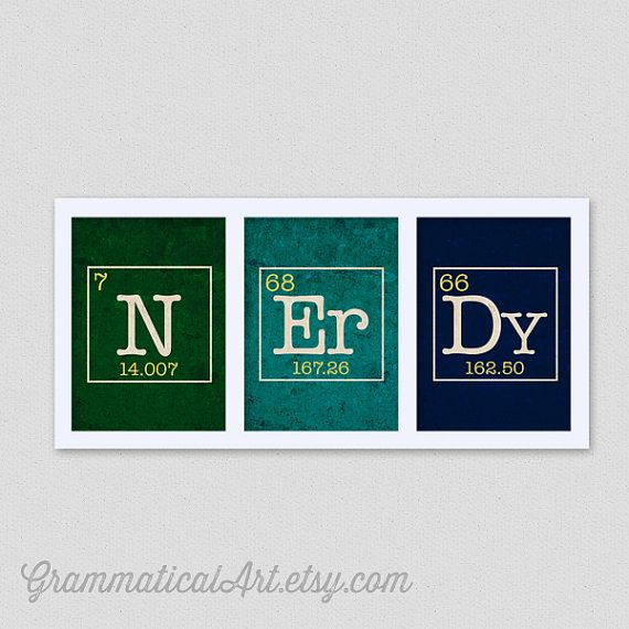 Science Dorm Decor Periodic Table Nerdy Set - Science Chemistry Geekery Gift Teacher Gifts for Teachers N Er Dy Science Gifts Science Nerd