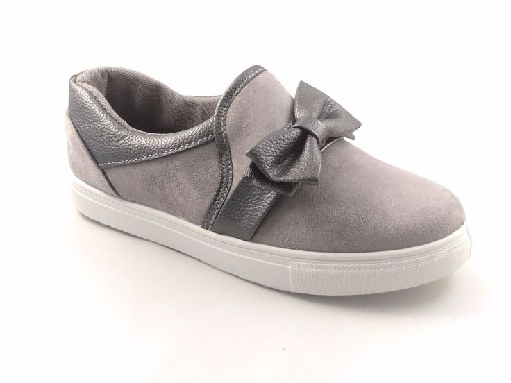Womens Ladies Trainers Faux Suede Slip On Flat Bow Sneakers  Shoes Plimsoll Size