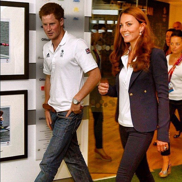 Prince Harry wearing 7 For All Mankind jeans while visiting Olympic athletes at The Team Great Britain house with Kate Middleon - @fashiondailymag- #webstagram