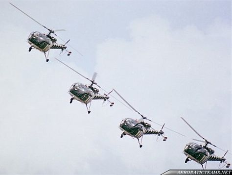 """The """"Grasshoppers"""" were a Royal Netherlands Air Force (RNLAF) helicopter display team.The """"Grasshoppers"""" history first began in the spring of 1973, when four Alouette III pilots from No. 299 Squadron at Deeley AFB decided to perform a demonstration on the occasion of the 60th ..."""
