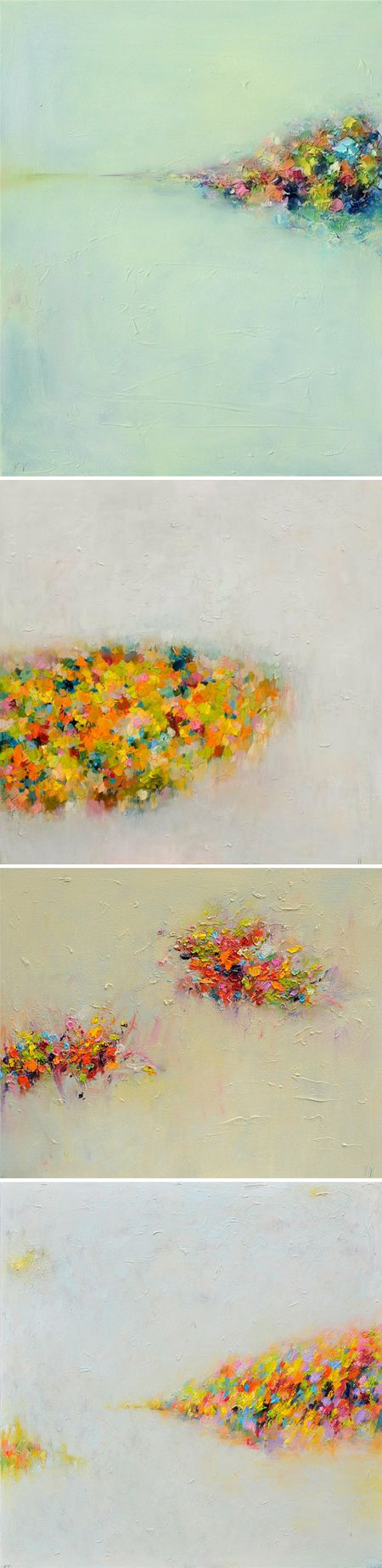 These stunning {yet simple} abstract oil landscapes, by Toronto based artist Yangyang Pan, make me want to rake up a giant pile of neon leaves, get a running start, and jump right in! The composition, the colors, and the fact that they're at least 4 feet wide … sigh. Where's my rake?
