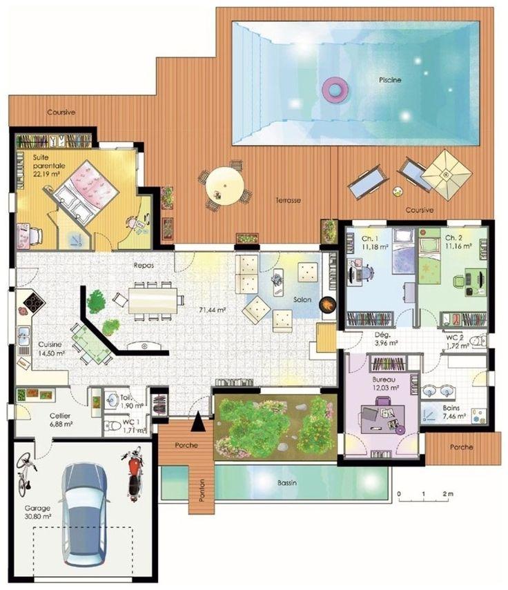 Plan presque parfait de maison: virer suite parentale. le bureau en ch. La cuisine donne sur la terrasse!!!!!