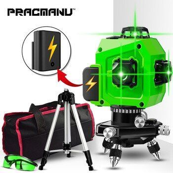 Pracmanu Laser Level Green 12 Lines 3d Level Self Leveling 360 Horizontal And Vertical Cross Super Powerful Green Laser Level Laser Levels Green Laser Vertical