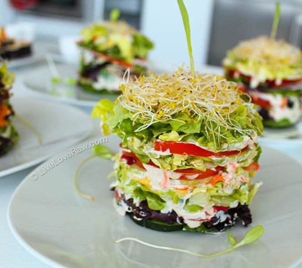 Leaning Tower of Salad by Live Love Raw. Order it today in Marbella, Spain! http://www.liveloveraw.com/alchemy-foods-menu-raw-vegan-catering-in-marbella-spain/