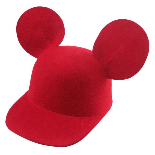 Blackfive Mickey Mouse Ears Peaked Cap ($19) ❤ liked on Polyvore featuring accessories, hats, disney, red hat, black hat, crown hat, black cap and peaked hat