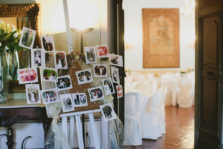 vintage photos from bride and groom's family...neat idea for rehearsal dinner?