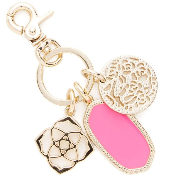 Kendra Scott Jewelry Shirley Neon Pink Keychain ($35) ❤ liked on Polyvore featuring accessories, pink, kendra scott, long key chain, ring key chain, fob key chain and key chain rings