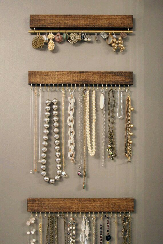 jewelry hangars from scrap wood + hooks