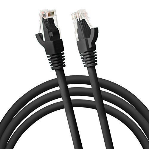 Cat6 RJ45 Fast Ethernet Network Cable - 15 Feet Black - connects Computer to printer, router, switch box or Local Area Network LAN Networking Cord, no signal loss