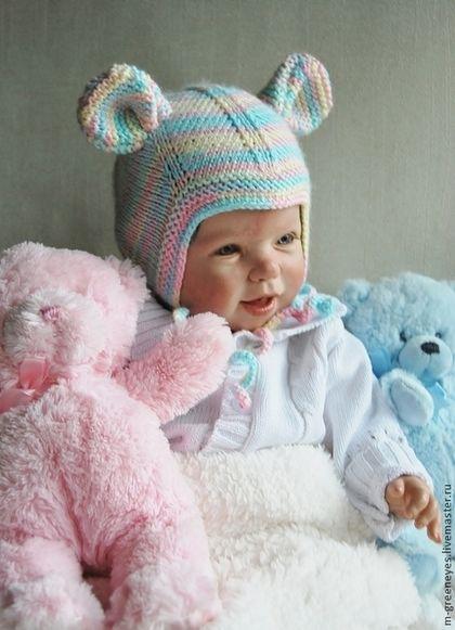 """Комплект шапок """"Радужный мышонок"""" - шапка,шапочка,для малыша,мышонок,мышка"""