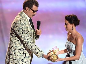 Will Ferrell and Aubrey Plaza at the 2013 MTV Movie Awards
