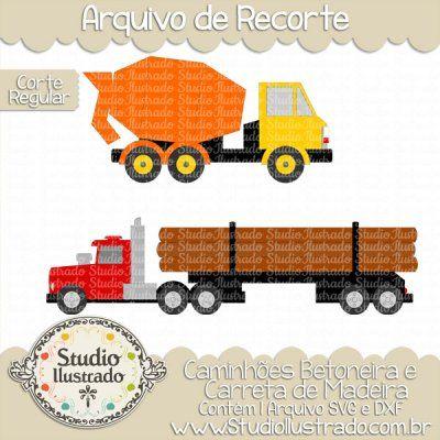 Trucks Concrete Mixer Logging, Caminhão Betoneira, Caminhão de Madeira, Tronco, Caminhões, Brinquedos, Trucks, Toys, Concreto, Cimento, Corte Regular, Regular Cut, Silhouette, DXF, SVG, PNG