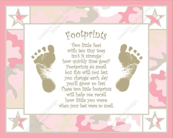 Pink And Khaki Camo Baby S Footprint With Poem Ebay ღ