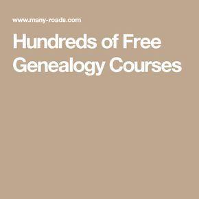 Hundreds of Free Genealogy Courses