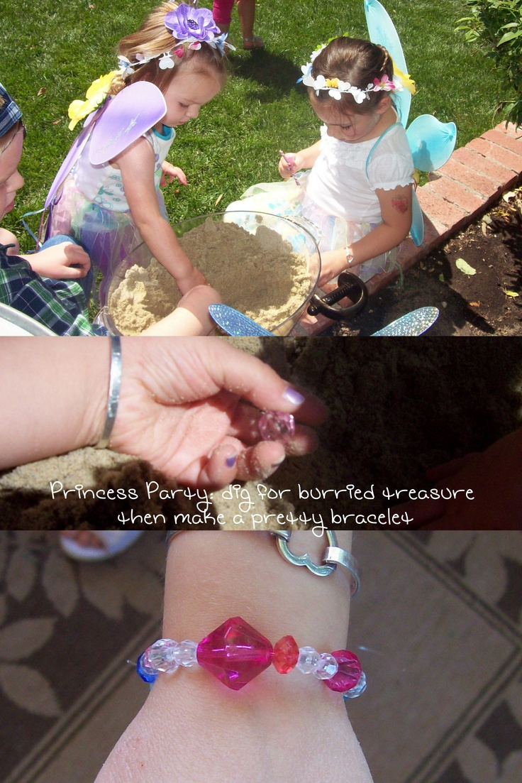 dig for buried jewels and make a keepsake bracelet. Cute activity for the mermaids.