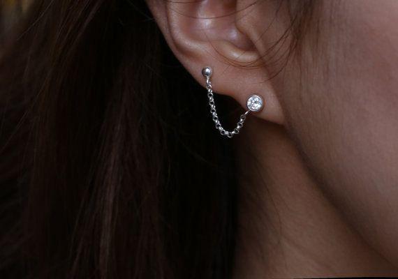 Cartilage Chain Earring - Double pierced Earring by Daldajewelry on Etsy https://www.etsy.com/nz/listing/187549279/cartilage-chain-earring-double-pierced