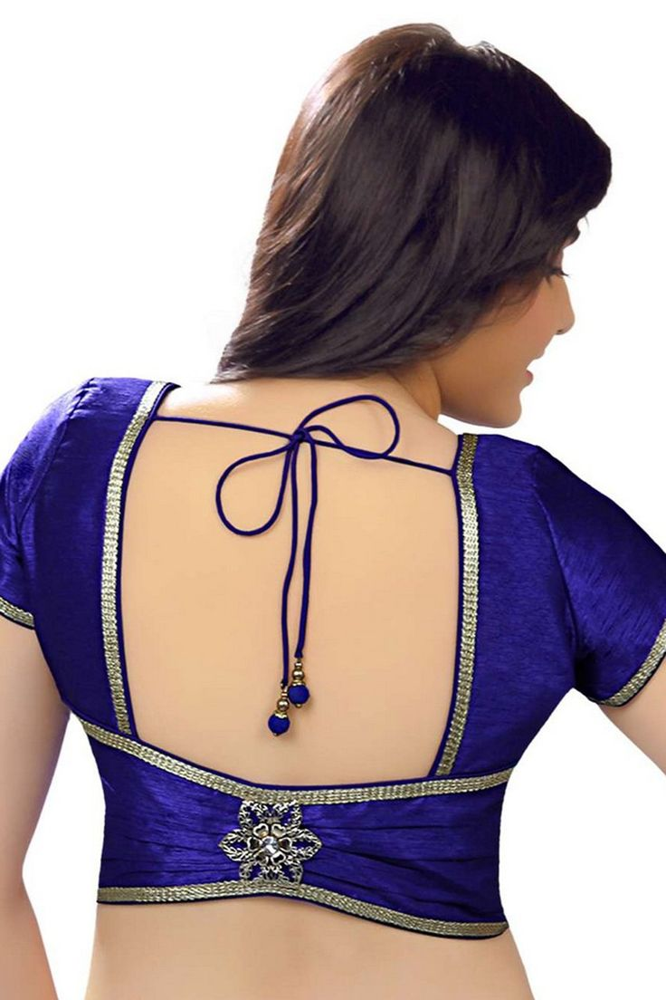 Indigo #blue casual wear raw #silk dazzling #blouse with back pot neck -BL694