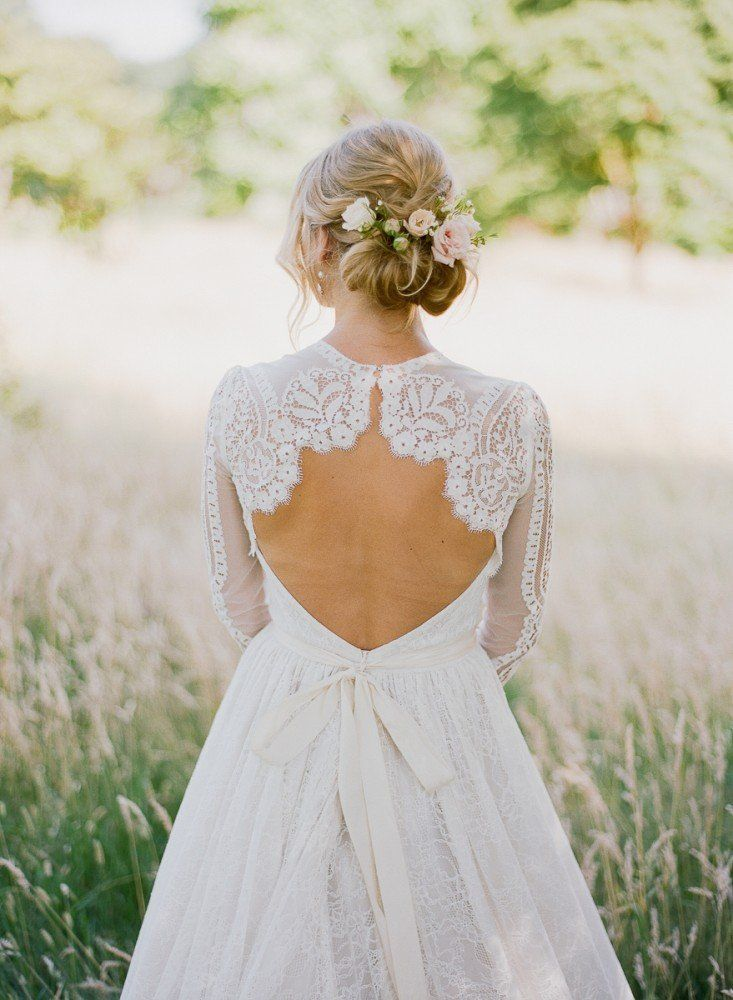 Our beautiful bride from our quintessentially romantic garden of England wedding inspiration shoot with flowers by Jennifer Pinder and 'Titania' dress by Katya Shehurina.