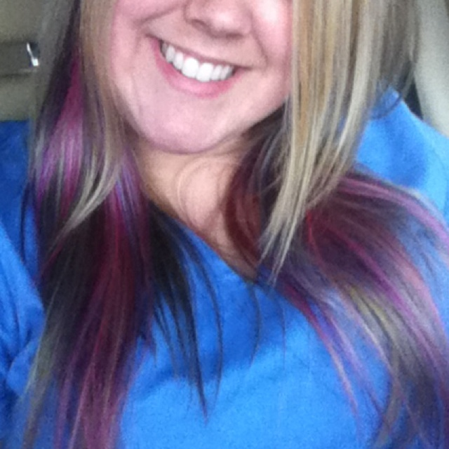 Blonde And Pink Purple And Blue Underneath Goldwell Hair Dye