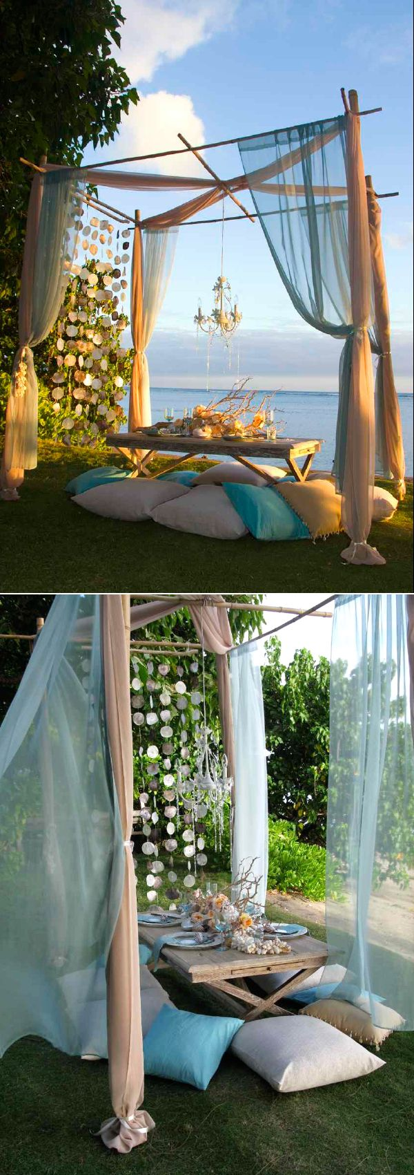 @Alix DeFarkas -- Could we do something like this in the middle of your reception area? beach wedding table