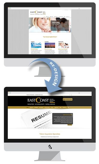 "The owner of East Coast Human Resources Group Michalle approached us about re-designing their corporate website. Michalle and her teams brief for the new website was to be ""sleek, professional, modern and responsive"" that represented the company, which specialise in job and position recruitment and HR consulting."