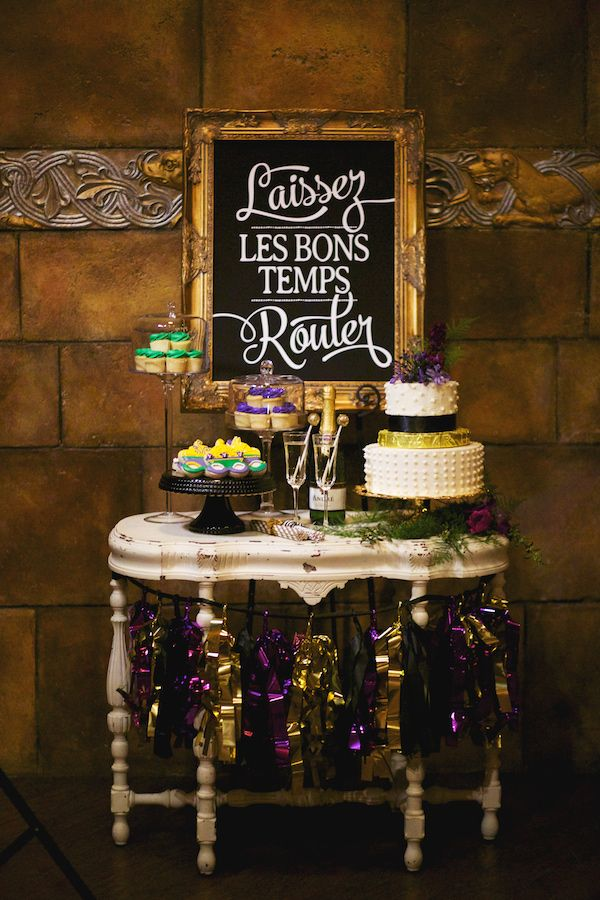 Mardi Gras wedding inspiration, photo by Nikki Moore Photography http://ruffledblog.com/mardi-gras-wedding-inspiration #mardigras #wedding #inspiration