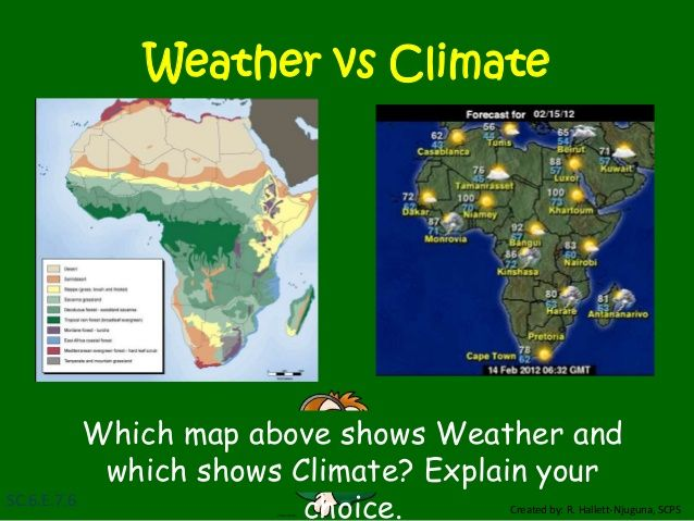 Reference about the difference between weather and climate for 5th grade science class--OK