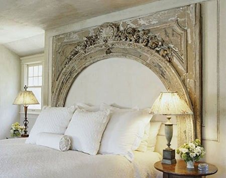 re-purposed door archway <3  OMG!  I'm holding out on ALL headboards and ideas until I find me one of these!!!! ~ Di