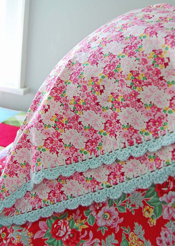 pillowcase with crochet trim  - Pretty Meadow via Etsy.