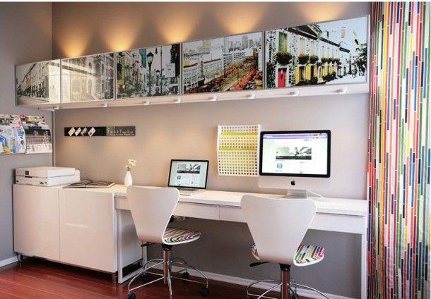 mooie witte werkkamer. Combinatie van Ikea meubels
