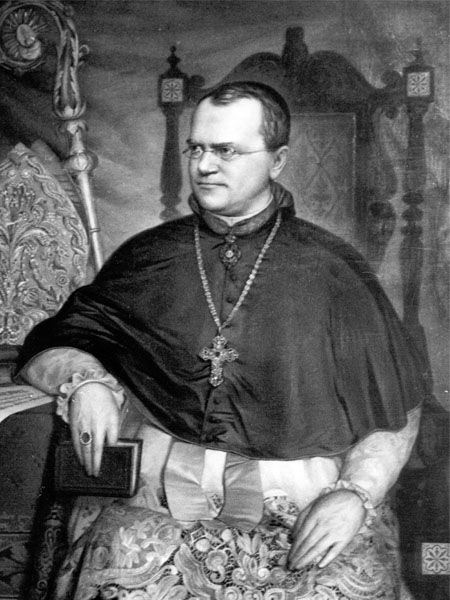 Geneticist, biologist and Catholic monk Johann Gregor Mendel (1822-1884). Mendel is credited for founding the science of genetics by discovering the first laws of heredity.