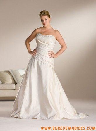 Robe A-ligne élégante en satin ornée de plis et de broderies robe de mariée grande taille
