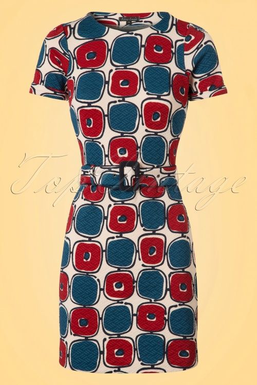King Louie - 60s Maes Solide Dress in Cream Blue and Wine