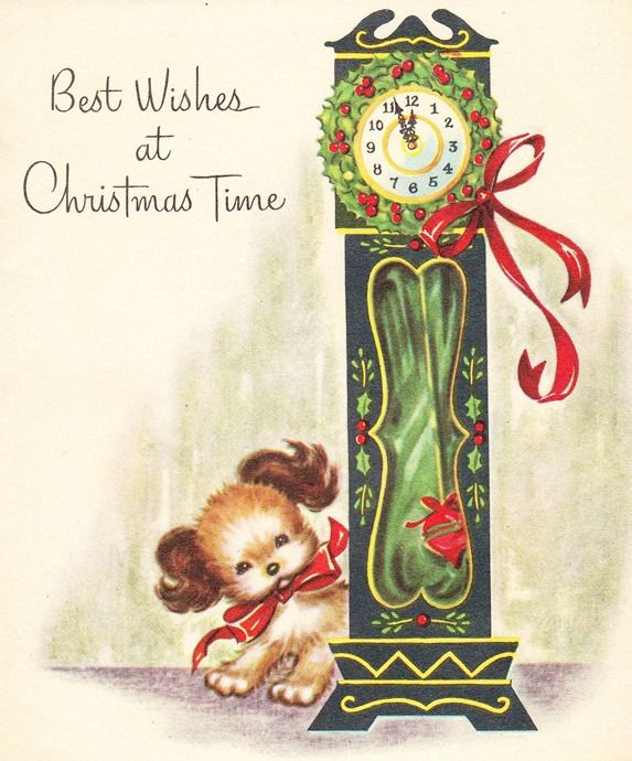 Vintage Christmas card with adorable puppy