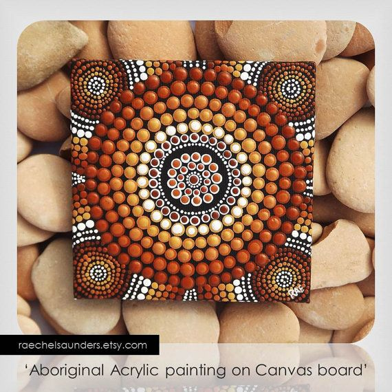 Authentic Aboriginal Dot Art, Acrylic paint on Canvas Board Painting, Earth…
