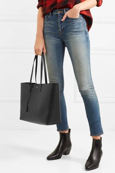 0f08146a622 SAINT LAURENT Shopper large textured-leather tote. Classic style bag.  Affiliate link.