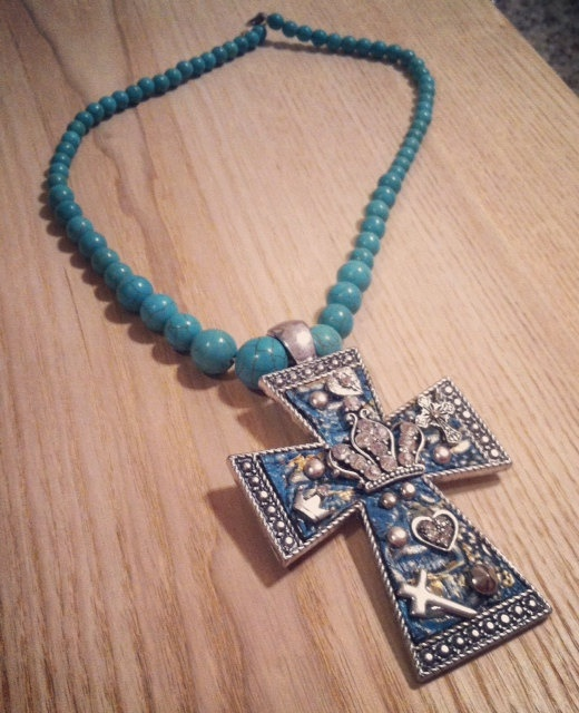 Big Bling Cross necklace by RainingRustic on Etsy, $23.00