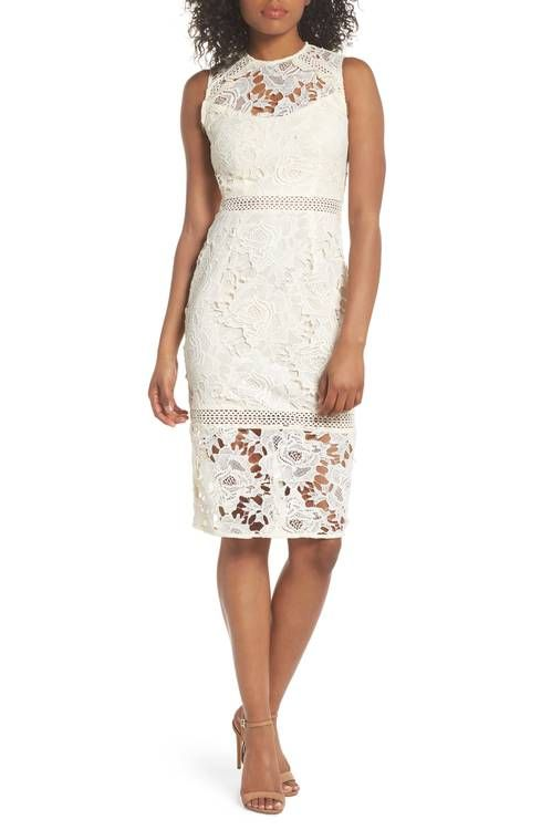 992a955eb66 Cooper St Lustrous High Neck Lace Sheath Dress white