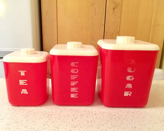 Vintage Red Canister Set Sugar Coffee Tea Art Deco Style