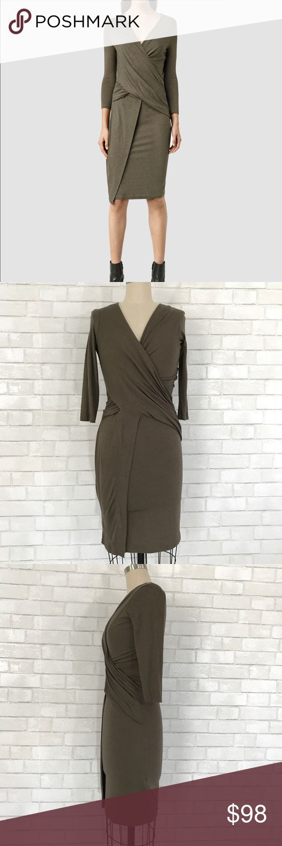 All Saints Adria Dress size M All Saints Adria Dress USA in green  Ⓜ️size M Ⓜ️Bust 36-40 Ⓜ️Waist 28- 32 Ⓜ️sleeves 18 Ⓜ️Length 42  Faux strap 3/4 sleeve dress by all saints, wrap twist at waist, light jersey 70% viscous 30% wool. Stunning body forming dress, new no tags.   ✅bundle  ✅🚭 ✅REASONABLE offers will be considered 👍🏼 🚫No Trading 🙅🏻 Poshmark rules only‼️ All Saints Dresses Midi