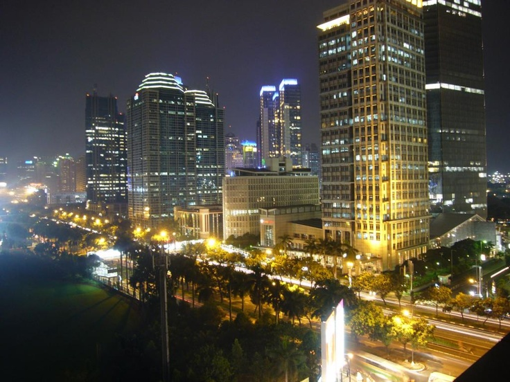 This is the capital of Indonesia in the night.
