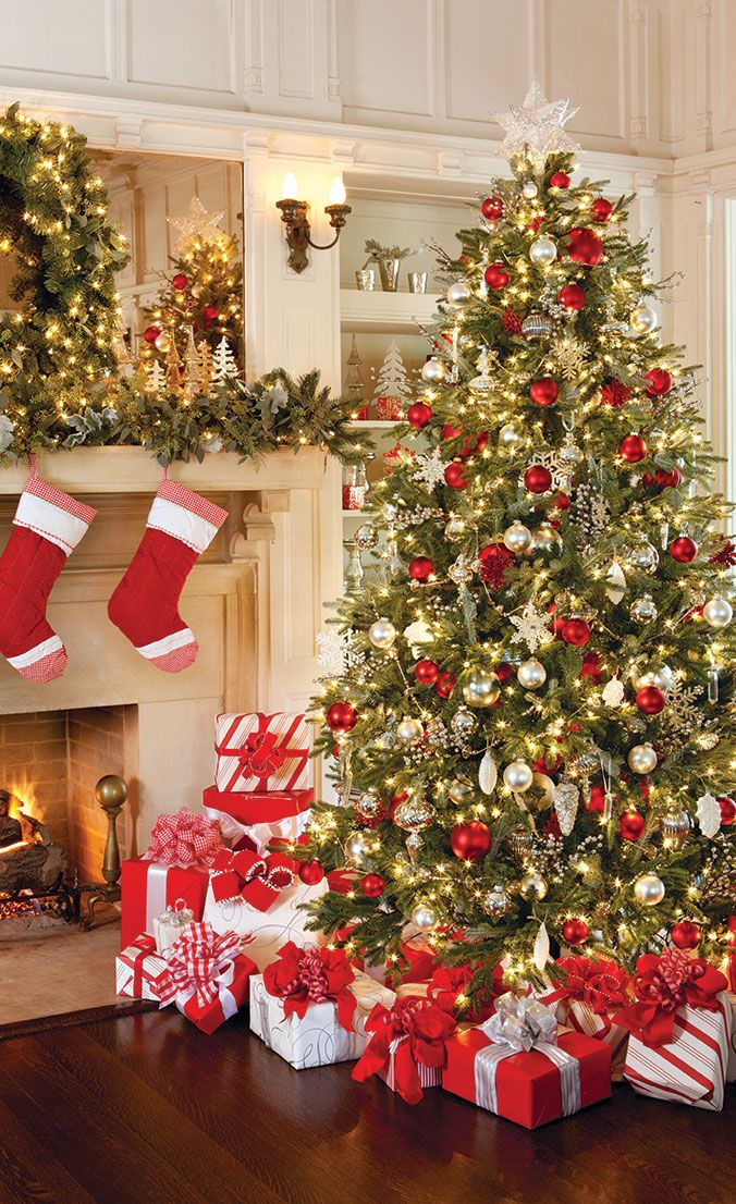 Celebrate The Holiday Season Colorful Christmas Decorations And Tree
