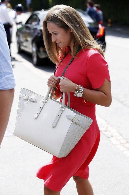 Kim Sears and her favourite Aspinals bag at Wimbledon 2014. www.handbag.com