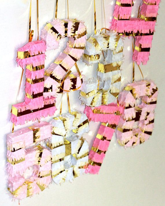 number pinatas pink and gold {cute!}