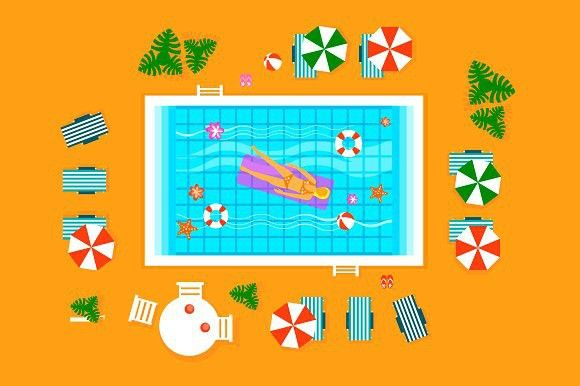 Swimming Pool In Top View Graphic Design Art Swimming Pools Illustration Artists